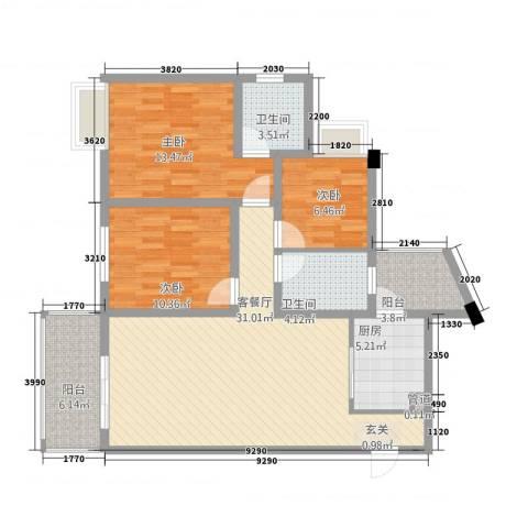 武陵富华大厦3室1厅2卫1厨84.20㎡户型图