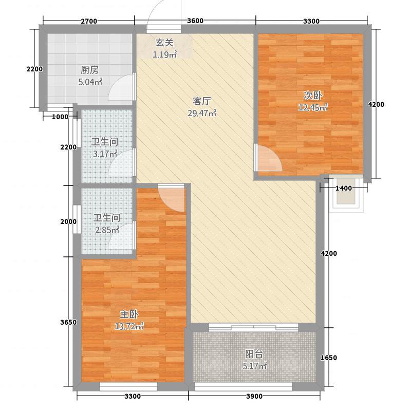 红盾时尚公寓5.22㎡D户型2室2厅2卫1厨