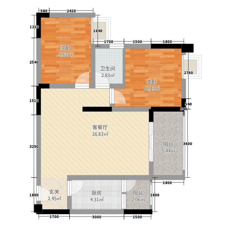金九・南滨花园82.81㎡12号楼6号房户型2室2厅1卫1厨