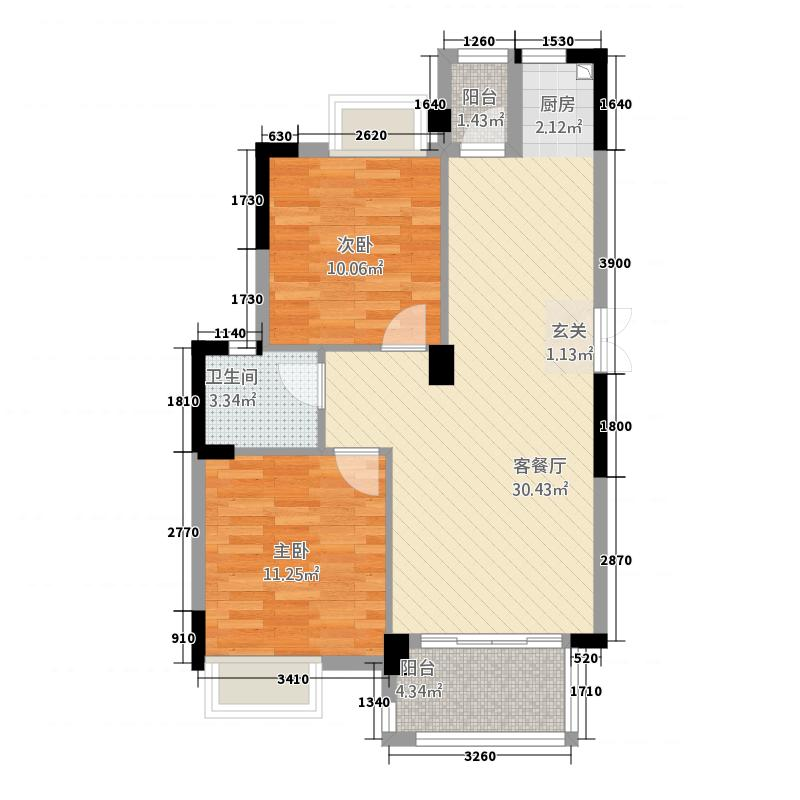 正方・上林苑3186.72㎡B-户型2室2厅1卫1厨