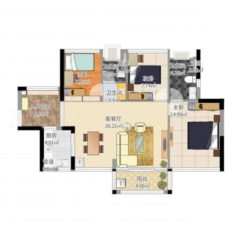 尚书悦府3室1厅3卫1厨109.00㎡户型图