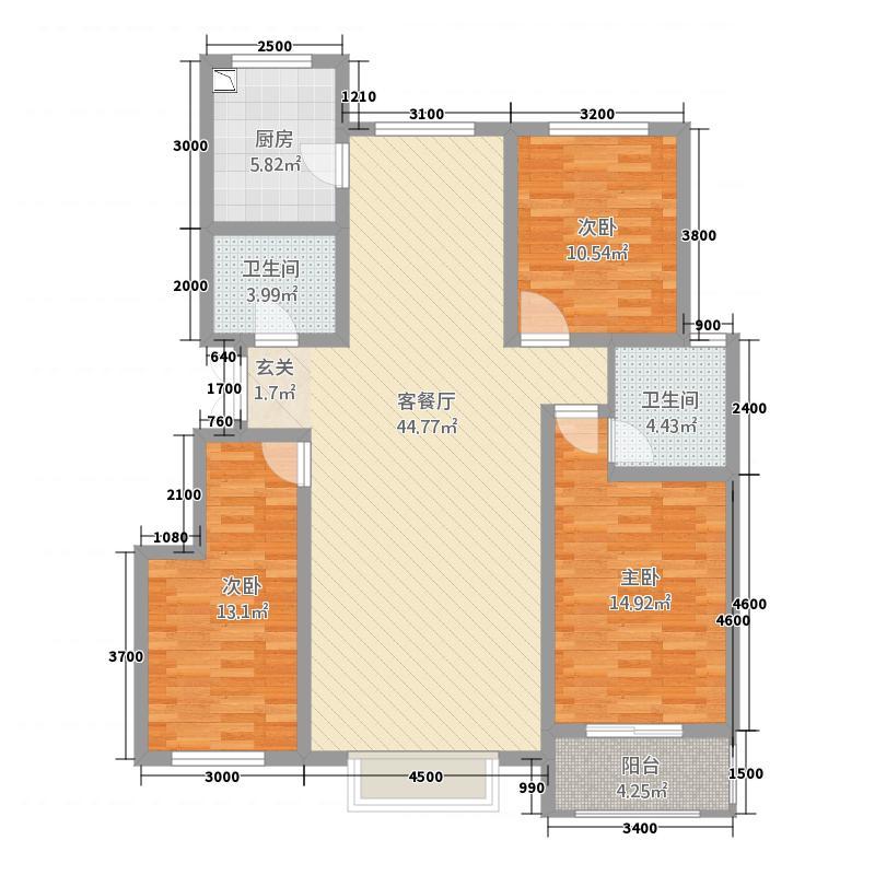 秦水嘉苑32137.20㎡E户型3室2厅2卫1厨