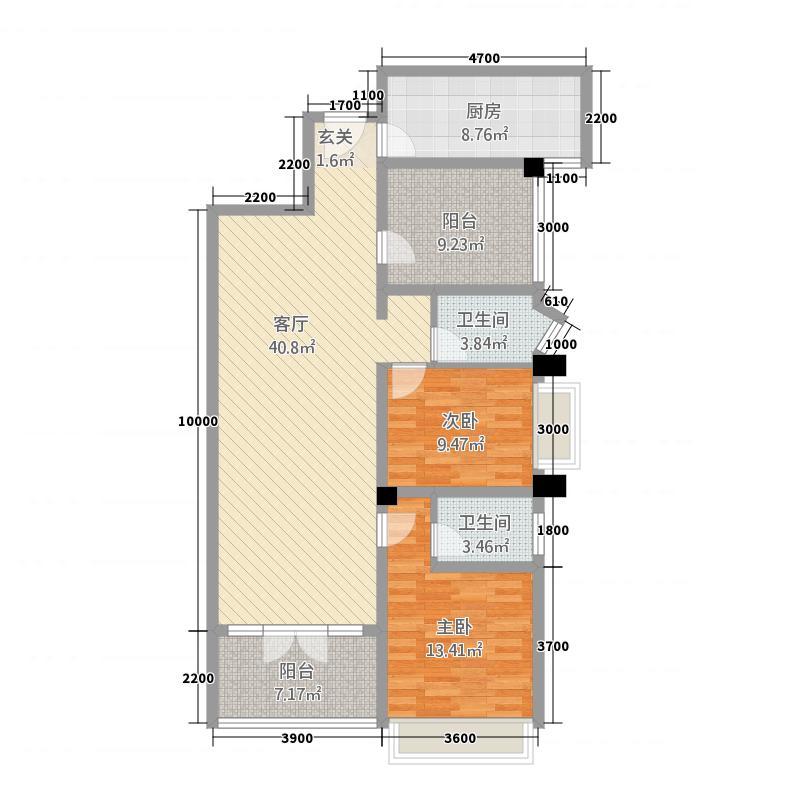 红盾时尚公寓121.32㎡B户型2室2厅2卫1厨