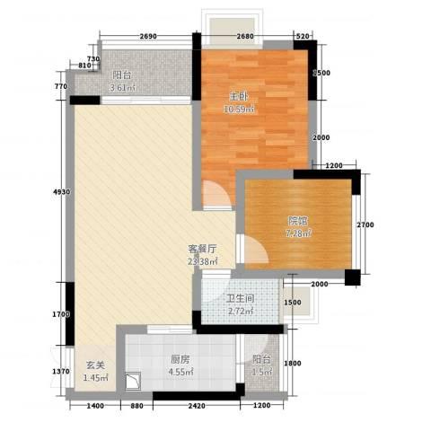 双福时代广场1室1厅1卫1厨272.00㎡户型图