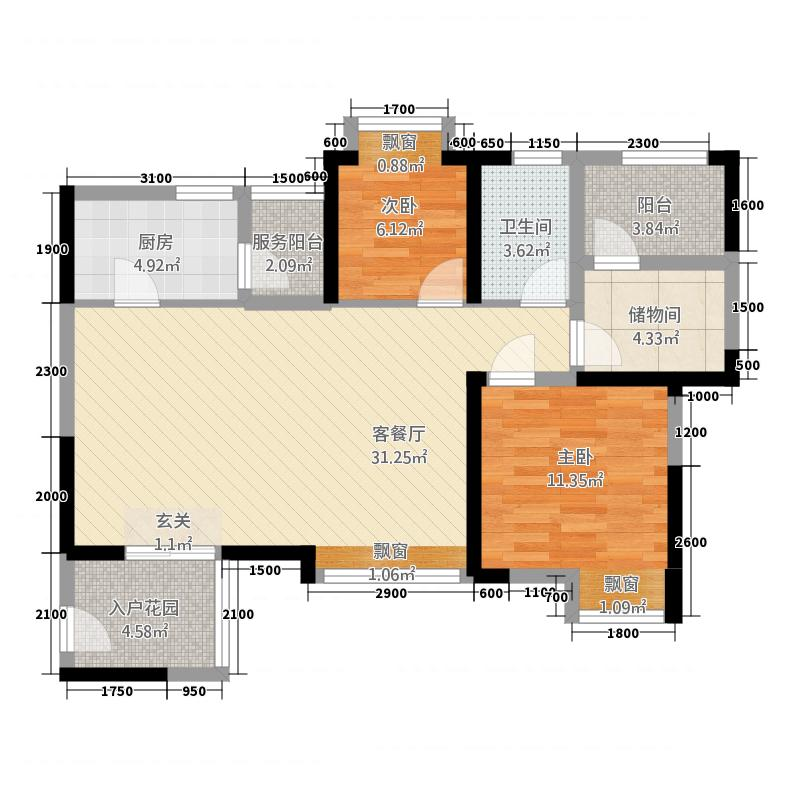 汉锦城3218.35㎡H型户型3室2厅1卫1厨