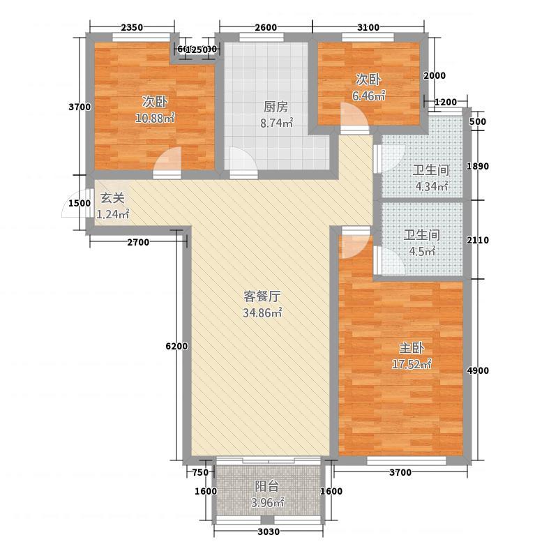泉山逸品3123.20㎡标准层A3户型3室2厅2卫1厨