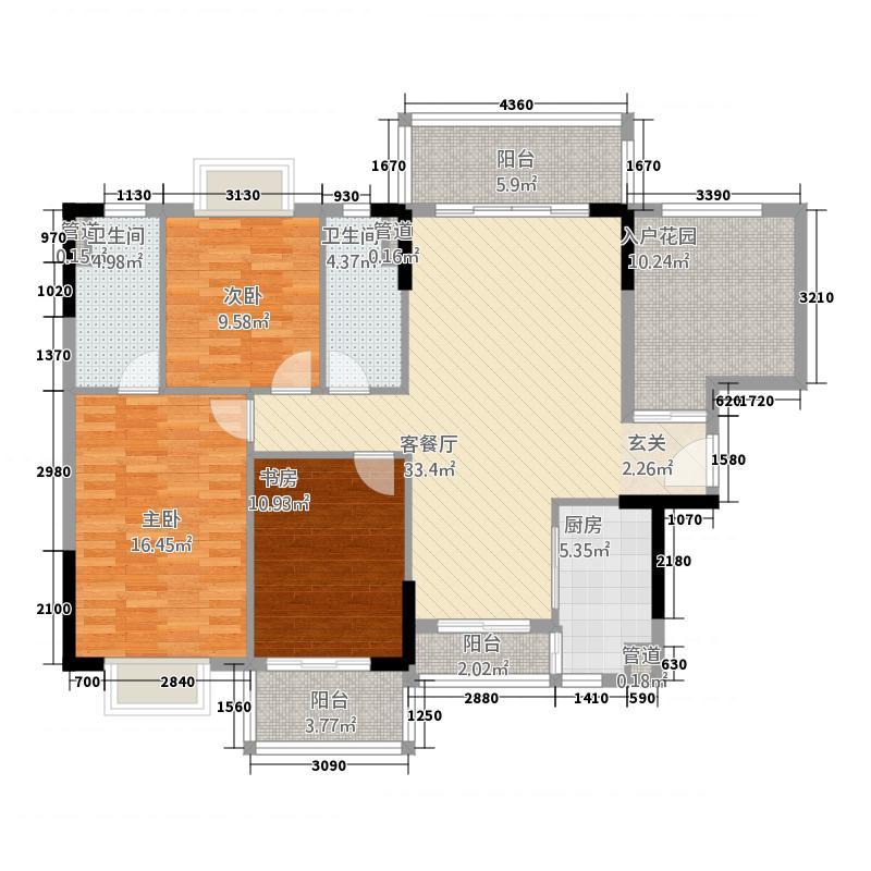 联城新世纪11.20㎡1栋1单元1C3室户型3室2厅2卫