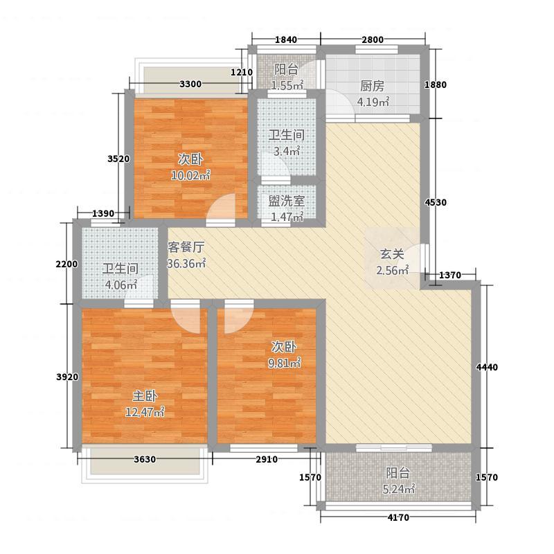 盛世新城3415.58㎡3、4#楼A户型3室2厅2卫1厨