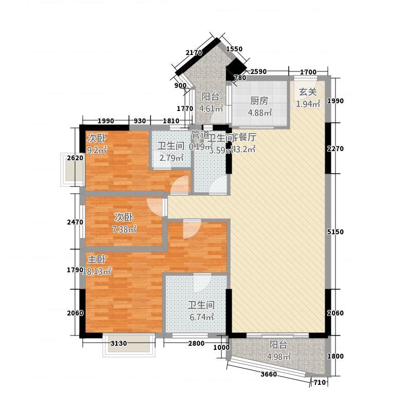 侨园・黄金海岸142.65㎡一期1栋03单位户型3室2厅3卫1厨
