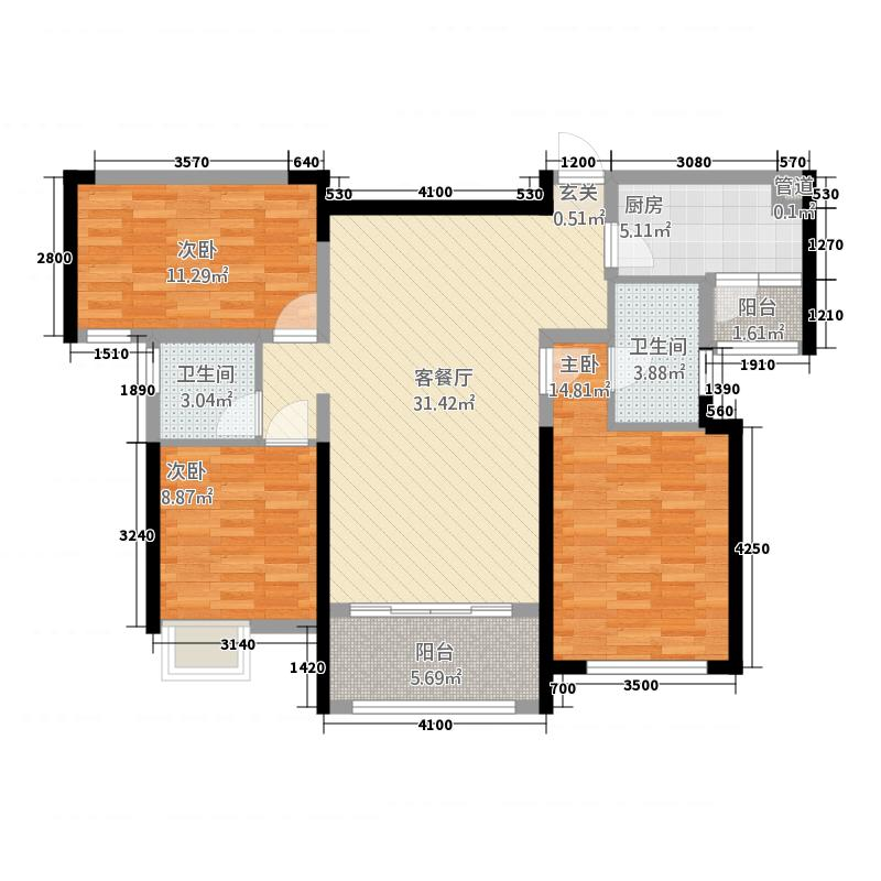 复地金融岛11.20㎡一期A户型3室2厅2卫1厨