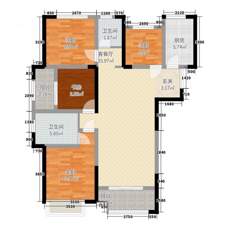 龙湖锦艺城131.20㎡二期高层A1户型4室2厅2卫1厨