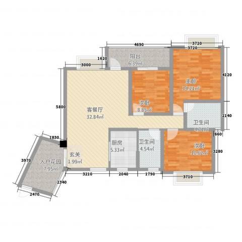 武陵富华大厦3室1厅2卫1厨113.00㎡户型图