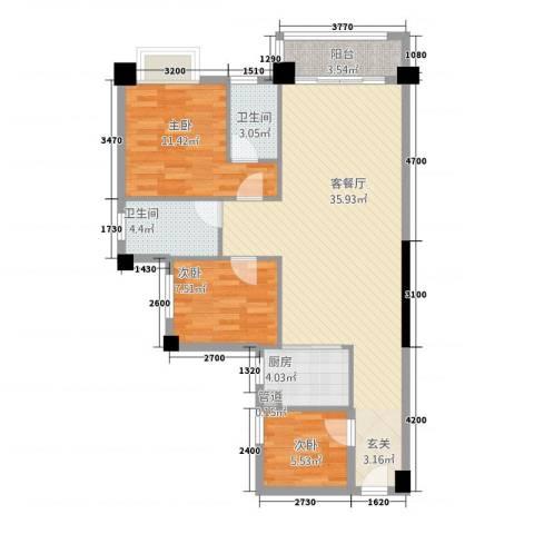 侨园・黄金海岸3室1厅2卫1厨75.55㎡户型图