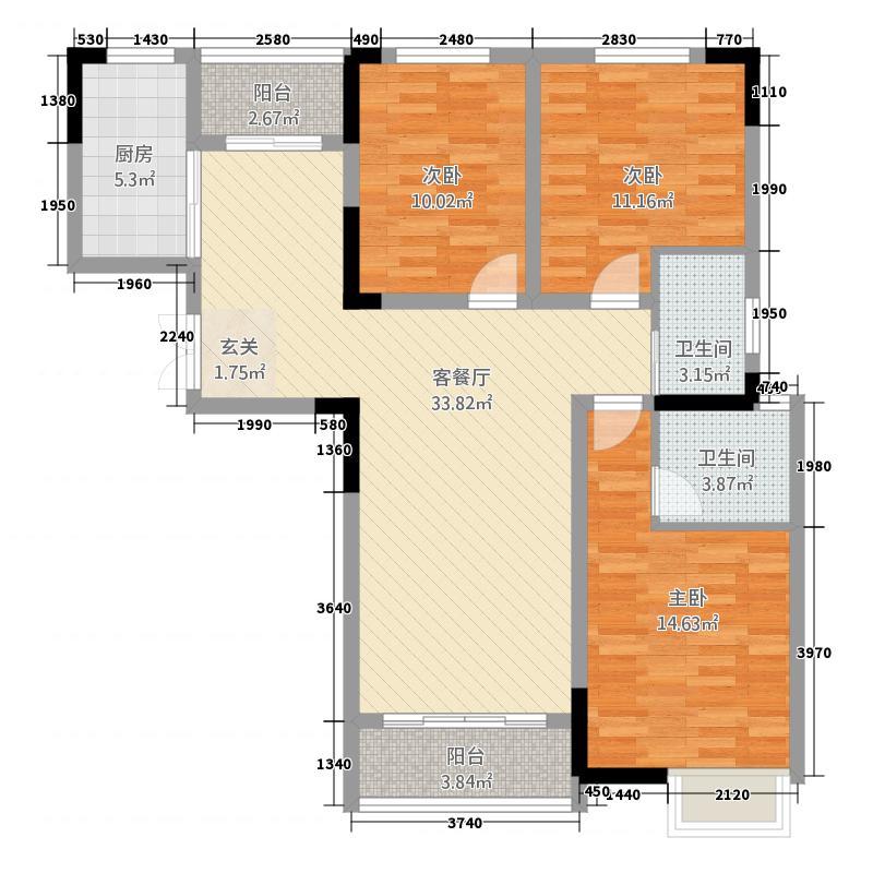 万达・公园里127.72㎡(3)户型3室2厅2卫1厨
