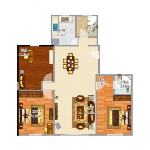 淞虹苑3室1厅2卫1厨118.00㎡户型图