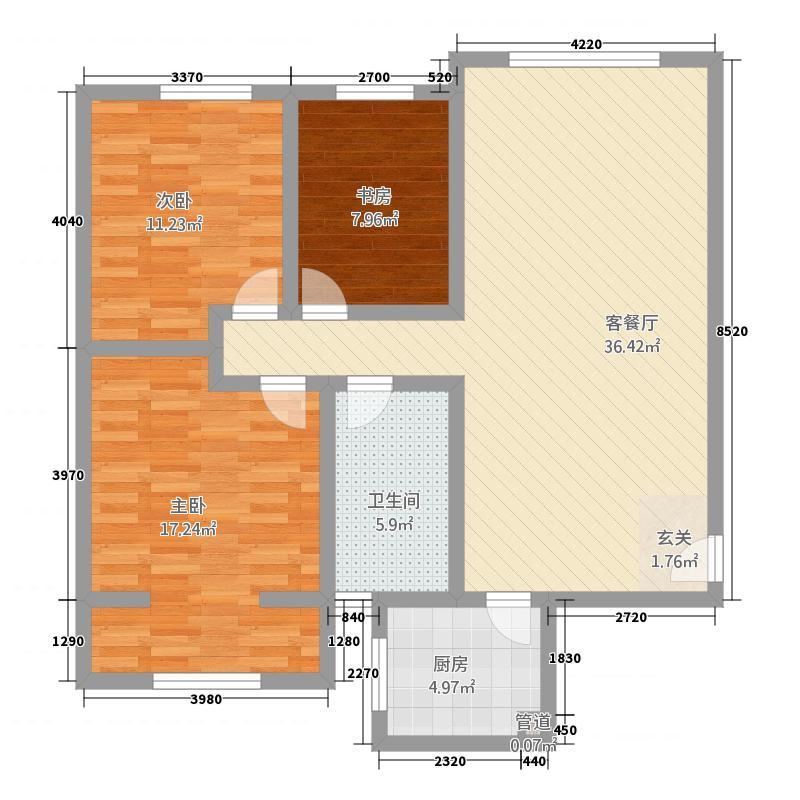 万和世家12.78㎡3号楼A户型3室2厅1卫1厨