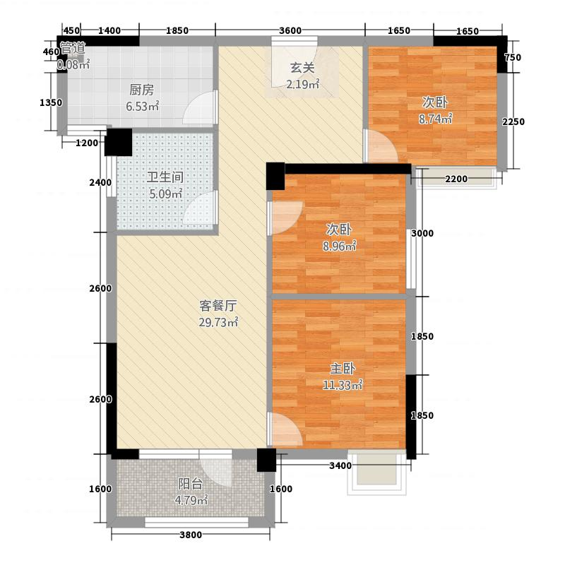 和合国际城四期211.65㎡B2、C户型3室2厅1卫1厨