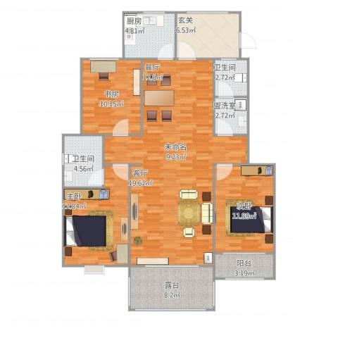 卓达明郡3室2厅2卫1厨146.00㎡户型图