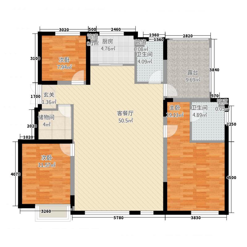 金地铁西檀府414.20㎡G4户型3室2厅2卫1厨