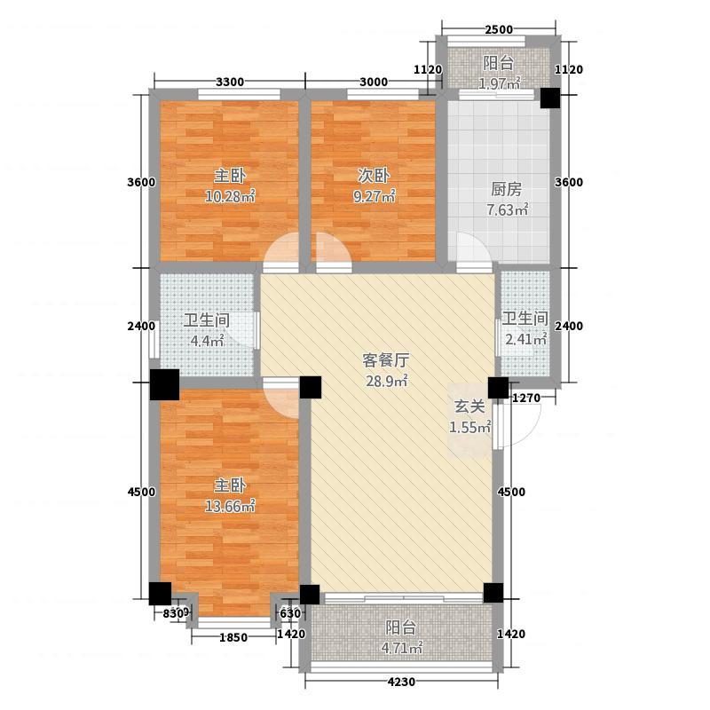 永乐城市广场138.20㎡户型2厅2卫1厨