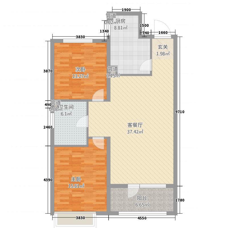 永乐城市广场123.20㎡户型2室1厅1卫1厨