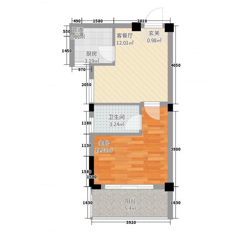 智汇金城1245.54㎡C户型1室2厅1卫1厨