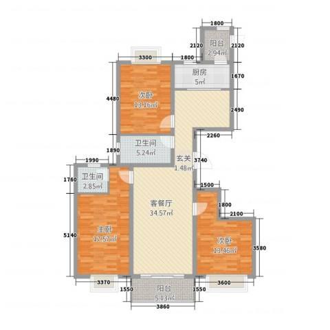 理想城3室1厅2卫1厨144.00㎡户型图