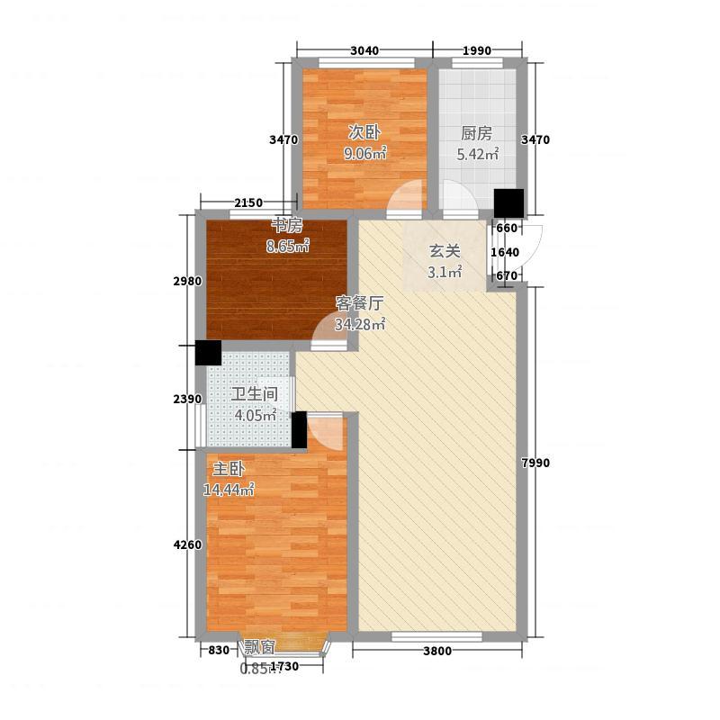 世界公元二期18.20㎡户型3室2厅1卫1厨