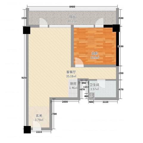 世纪之帆1室1厅1卫0厨89.00㎡户型图