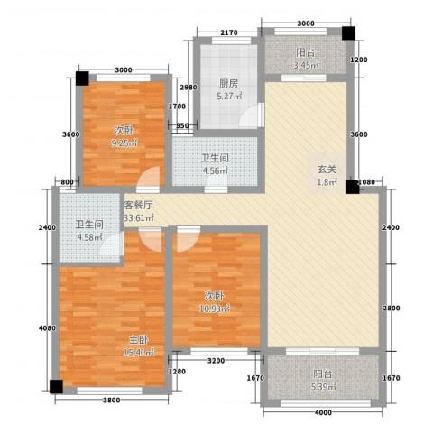 翠湖天地三期3室1厅2卫1厨113.00㎡户型图