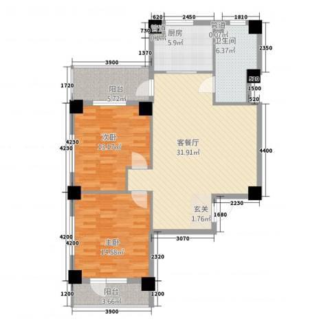 南山学府2室1厅1卫1厨110.00㎡户型图