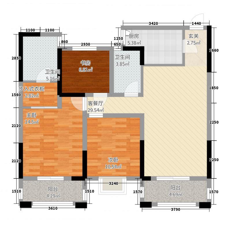金纱馨苑128.00㎡-16户型3室2厅2卫