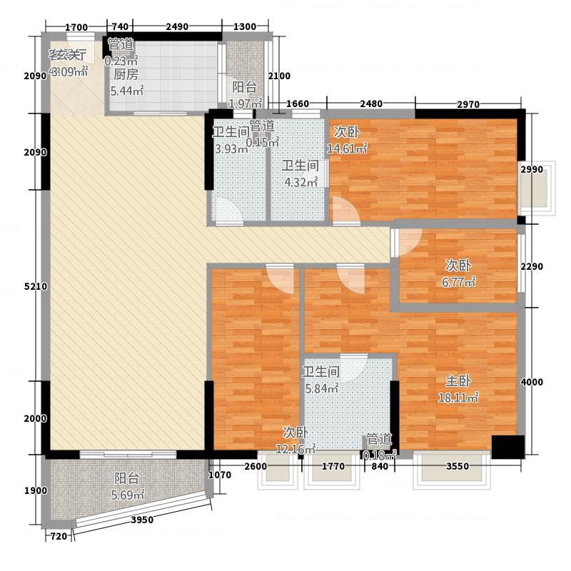 侨园・黄金海岸17.72㎡一期1栋05单位户型4室2厅3卫1厨