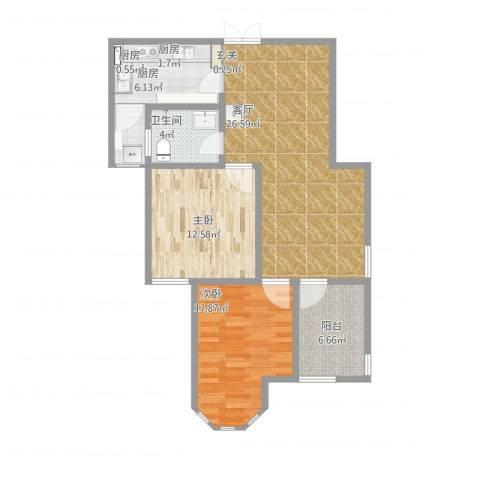 国金华府2室1厅1卫3厨100.00㎡户型图