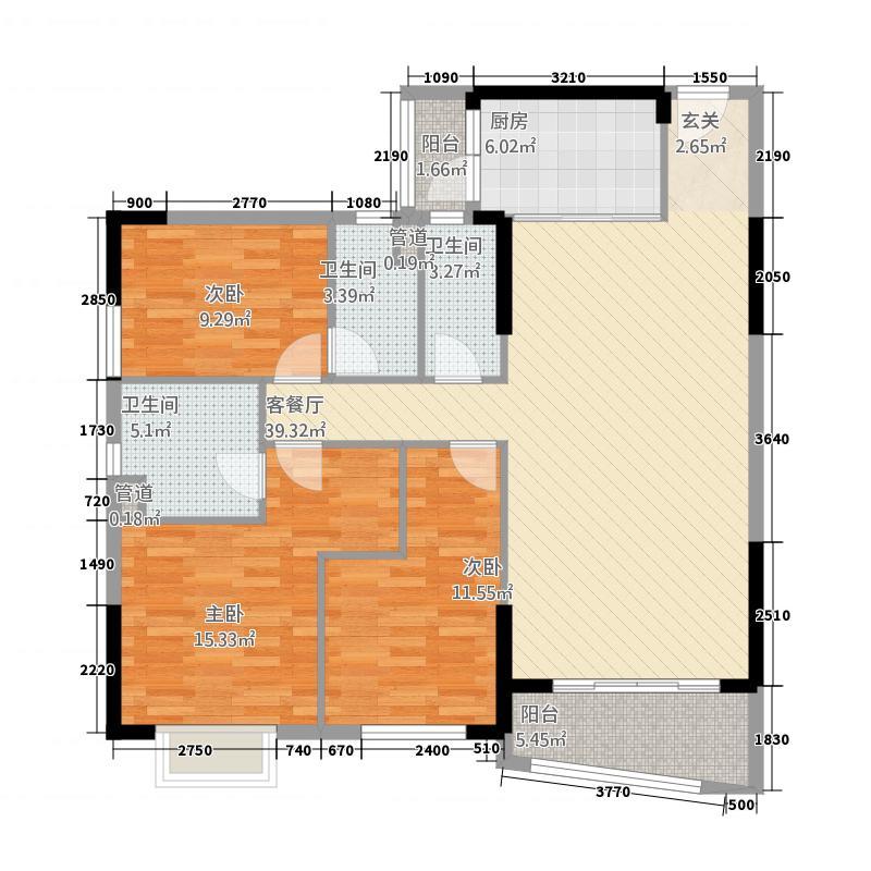 侨园・黄金海岸138.82㎡一期2栋05/06单位户型3室2厅3卫1厨