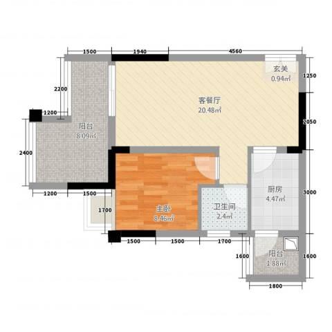 双福时代广场1室1厅1卫1厨45.78㎡户型图