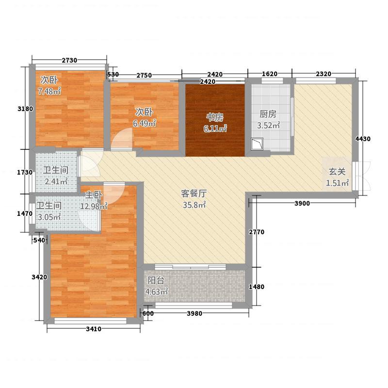 君悦黄金海岸111.20㎡二期A1户型3室2厅2卫1厨