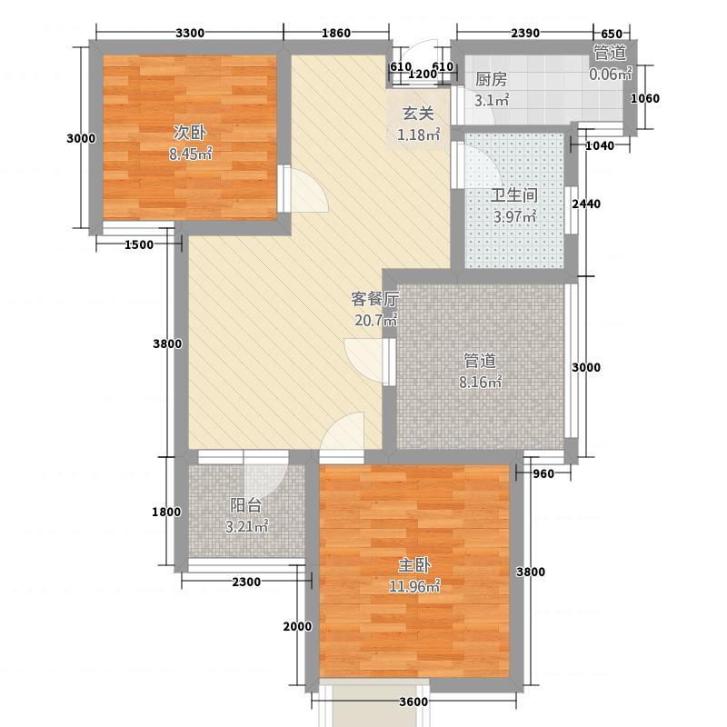 华盛大运城2328.20㎡23#B2户型3室2厅1卫1厨