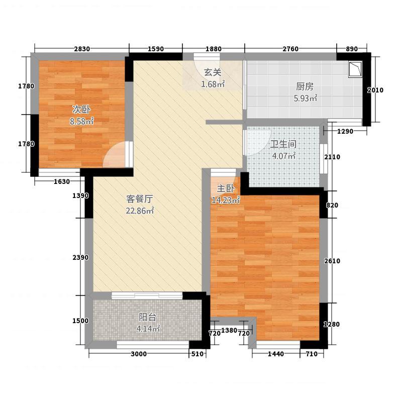 新乐花园134687.20㎡1#3#4#6#标准层A户型2室2厅1卫1厨