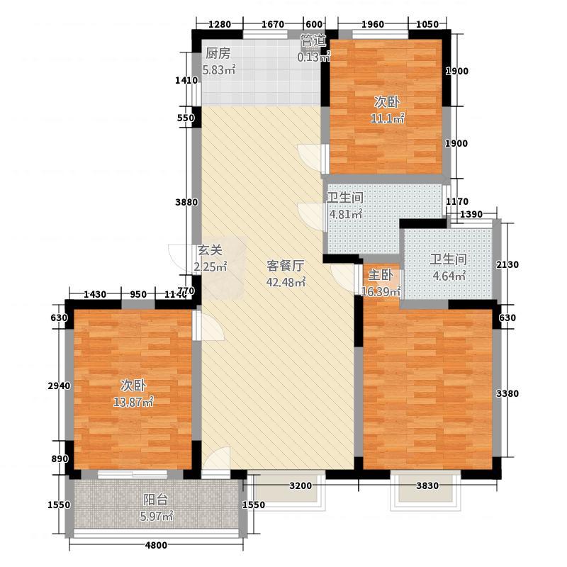 水韵名居32133.62㎡D户型3室2厅2卫1厨