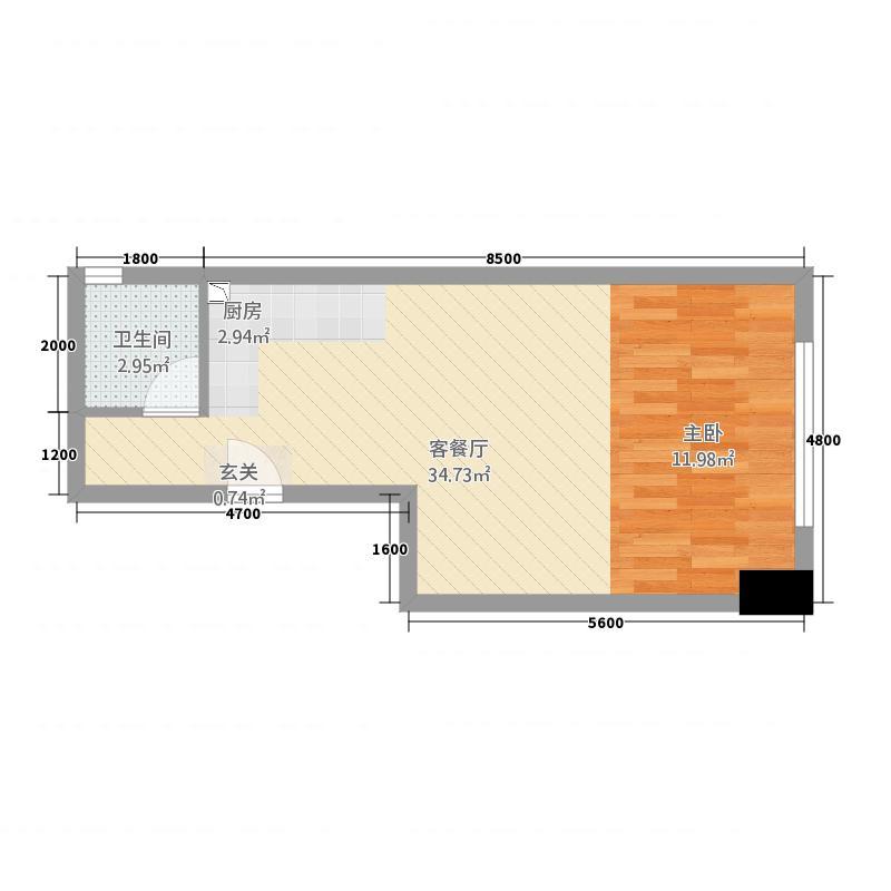东湖新天地2611151.25㎡b_户型1室2厅1卫1厨