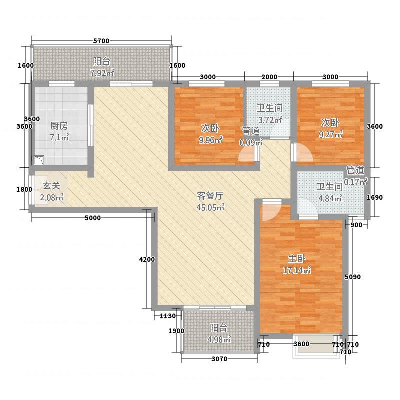 名门世家13141.72㎡一期A1/B3户型3室2厅2卫1厨