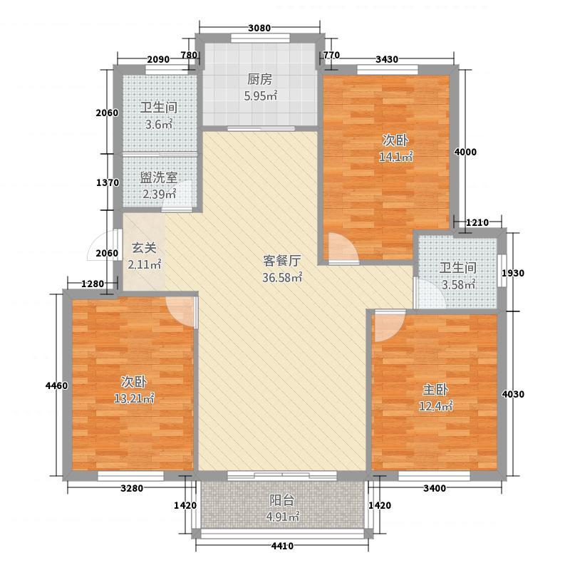 御林华府3.20㎡B库・13118户型3室2厅2卫