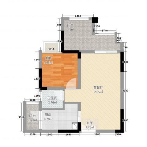 双福时代广场1室1厅1卫1厨45.18㎡户型图
