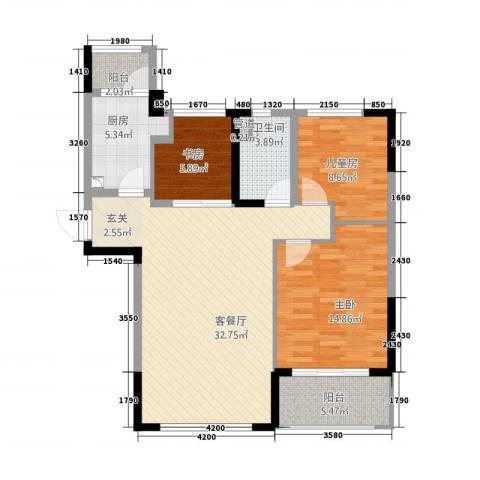 池州碧桂园3室1厅1卫1厨79.37㎡户型图