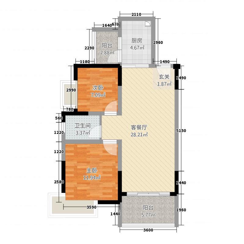 池州碧桂园83.20㎡浅月湾二期J399-D户型2室2厅1卫1厨