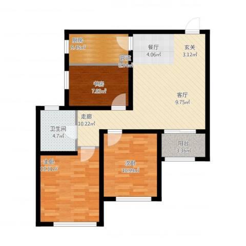 高科绿水东城3室1厅1卫1厨105.00㎡户型图