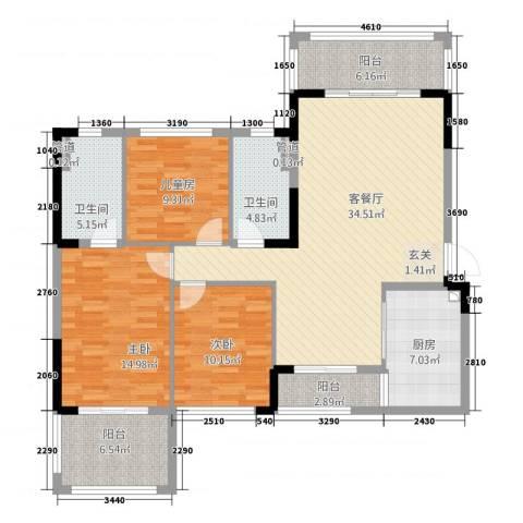 池州碧桂园3室1厅2卫1厨122.00㎡户型图