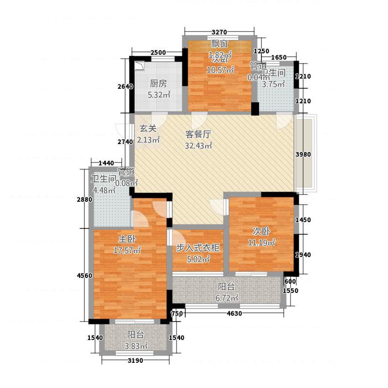 和润华府7132.61㎡华和苑7#、1#楼边间套J户型3室2厅2卫1厨