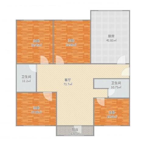 胜利小区4室1厅2卫1厨334.00㎡户型图